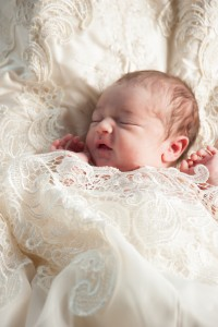 newborn in weddinggown