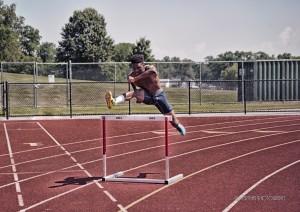 hurdles and sprint track
