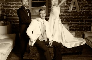 bride , groom and best man