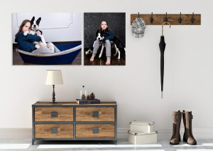 room mock up, pictures on wall